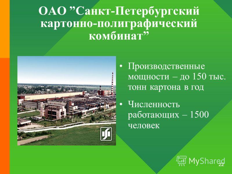 22 ОАО Санкт-Петербургский картонно-полиграфический комбинат Производственные мощности – до 150 тыс. тонн картона в год Численность работающих – 1500 человек