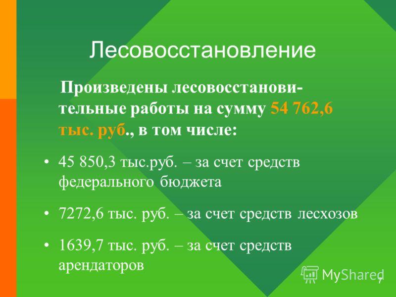 7 Лесовосстановление Произведены лесовосстанови- тельные работы на сумму 54 762,6 тыс. руб., в том числе: 45 850,3 тыс.руб. – за счет средств федерального бюджета 7272,6 тыс. руб. – за счет средств лесхозов 1639,7 тыс. руб. – за счет средств арендато