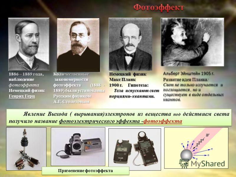1886 – 1889 года, наблюдение фотоэффекта Немецкий физик Генрих Герц Явление Выхода ( вырывания)электронов из вещества под действием света получило название фотоэлектрического эффекта -фотоэффекта Количественные закономерности фотоэффекта (1888 - 1889