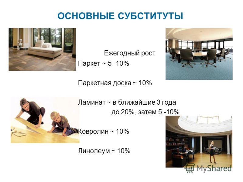 ОСНОВНЫЕ СУБСТИТУТЫ Ежегодный рост Паркет ~ 5 -10% Паркетная доска ~ 10% Ламинат ~ в ближайшие 3 года до 20%, затем 5 -10% Ковролин ~ 10% Линолеум ~ 10%