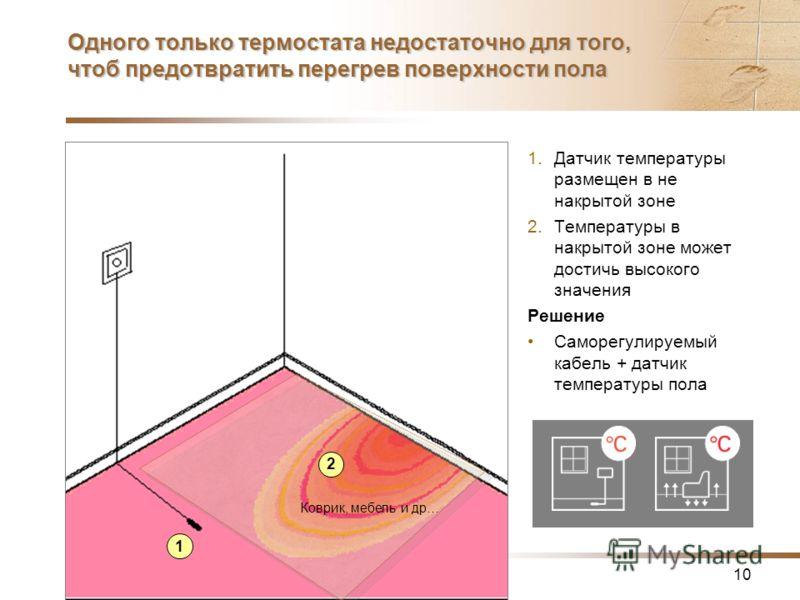10 Одного только термостата недостаточно для того, чтоб предотвратить перегрев поверхности пола 1.Датчик температуры размещен в не накрытой зоне 2.Температуры в накрытой зоне может достичь высокого значения Решение Саморегулируемый кабель + датчик те