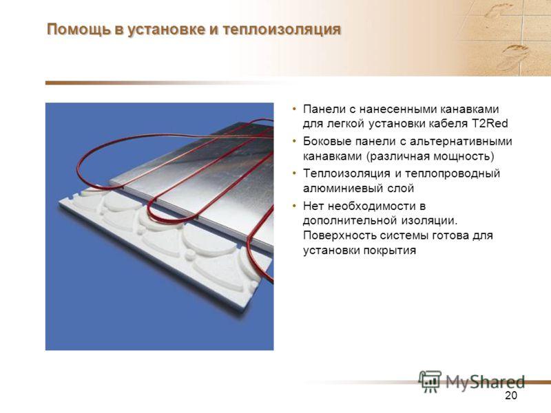 20 Помощь в установке и теплоизоляция Панели с нанесенными канавками для легкой установки кабеля T2Red Боковые панели с альтернативными канавками (различная мощность) Теплоизоляция и теплопроводный алюминиевый слой Нет необходимости в дополнительной