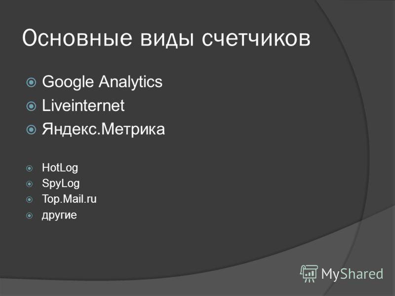 Основные виды счетчиков Google Analytics Liveinternet Яндекс.Метрика HotLog SpyLog Top.Mail.ru другие