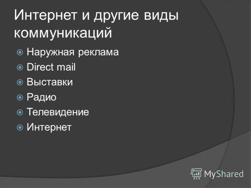 Интернет и другие виды коммуникаций Наружная реклама Direct mail Выставки Радио Телевидение Интернет