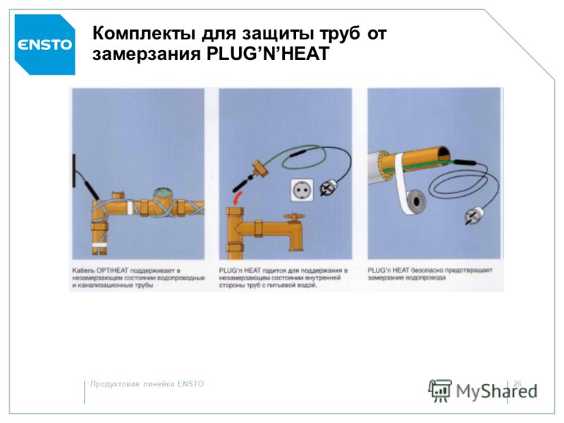 Продуктовая линейка ENSTO25 Саморегулирующиеся нагревательные кабели Optiheat 9 и Plugn Heat: Надежны: защищают любые бытовые трубопроводы от замерзания в течение всего срока их эксплуатации при правильном расчете и монтаже Универсальны: подходят для