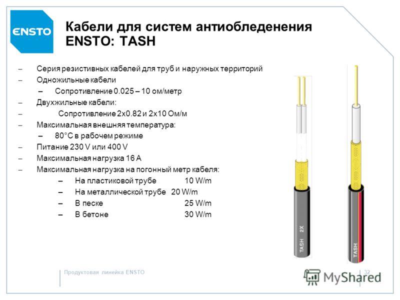 Продуктовая линейка ENSTO31 Кабели для систем антиобледенения ENSTO Резистивные кабелиСаморегулирующиеся кабели TashOptiheat Одножильные/двужильные Мощность зависит от длины кабеля Мощность зависит от условий окружающей среды Есть ограничения по min