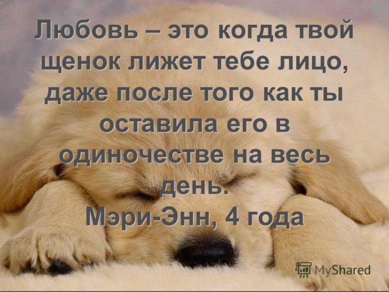 Любовь – это когда твой щенок лижет тебе лицо, даже после того как ты оставила его в одиночестве на весь день. Мэри-Энн, 4 года