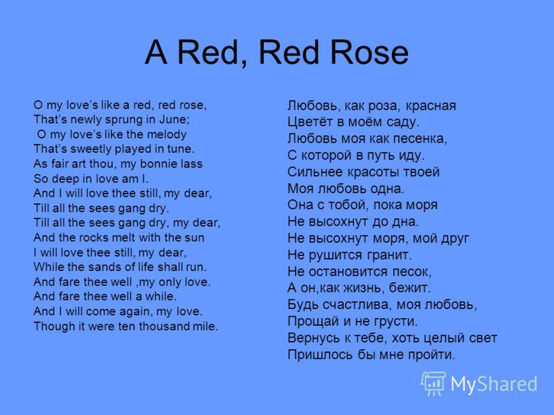 A Red, Red Rose O my loves like a red, red rose, Thats newly sprung in June; O my loves like the melody Thats sweetly played in tune. As fair art thou, my bonnie lass So deep in love am I. And I will love thee still, my dear, Till all the sees gang d