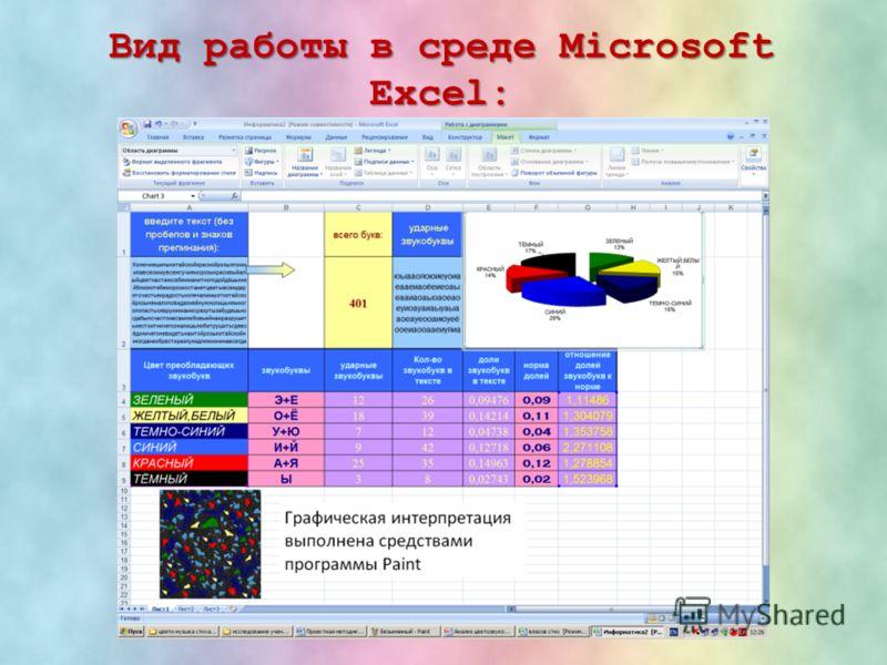 Вид работы в среде Microsoft Excel: