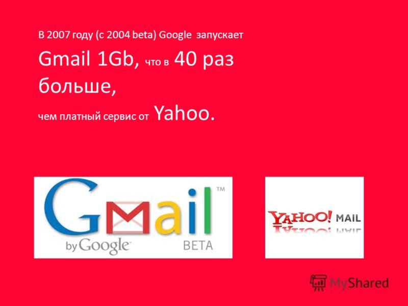 В 2007 году (с 2004 beta) Google запускает Gmail 1Gb, что в 40 раз больше, чем платный сервис от Yahoo.