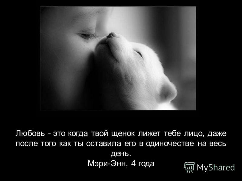 Любовь - это когда твой щенок лижет тебе лицо, даже после того как ты оставила его в одиночестве на весь день. Мэри-Энн, 4 года
