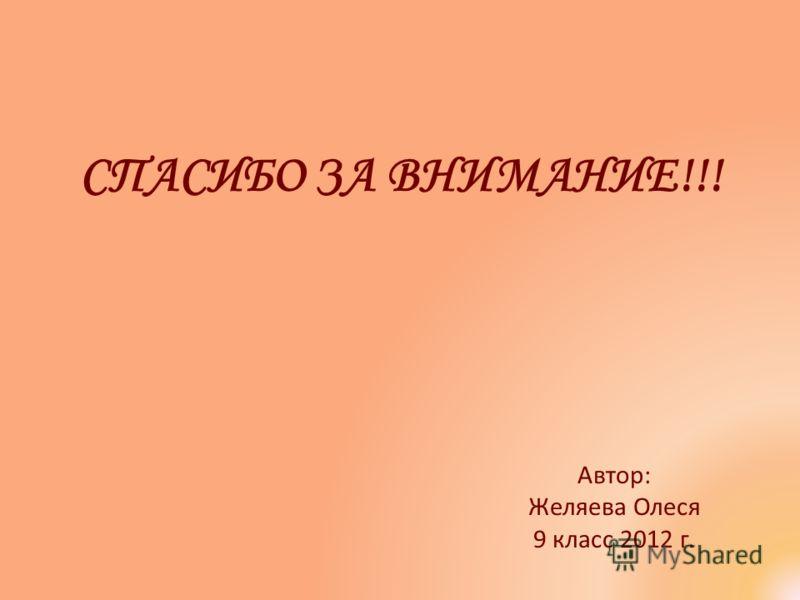 Автор: Желяева Олеся 9 класс 2012 г. СПАСИБО ЗА ВНИМАНИЕ!!!