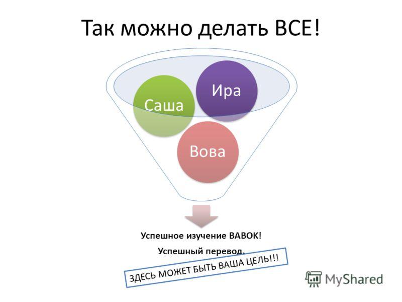 Так можно делать ВСЕ! Успешное изучение BABOK! Успешный перевод. ВоваСашаИра ЗДЕСЬ МОЖЕТ БЫТЬ ВАША ЦЕЛЬ!!!