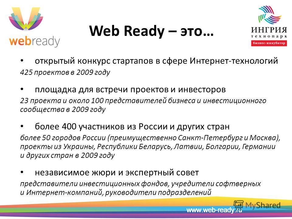 Web Ready – это… открытый конкурс стартапов в сфере Интернет-технологий 425 проектов в 2009 году площадка для встречи проектов и инвесторов 23 проекта и около 100 представителей бизнеса и инвестиционного сообщества в 2009 году более 400 участников из