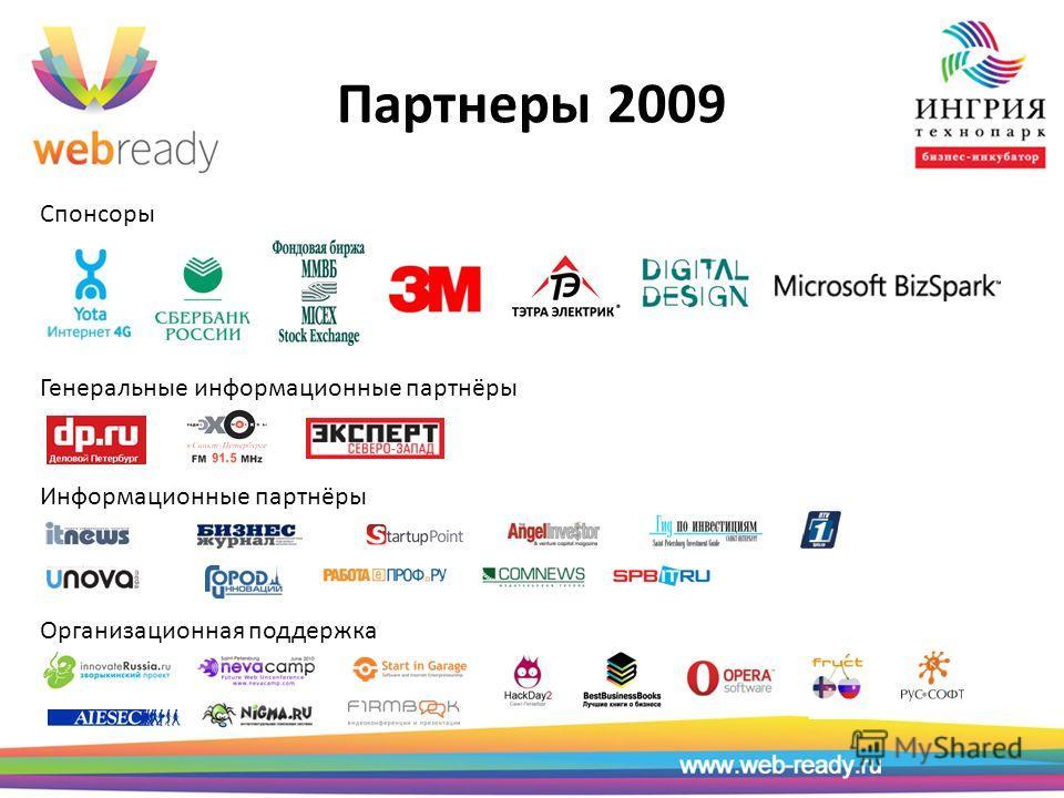 Партнеры 2009 Спонсоры Генеральные информационные партнёры Информационные партнёры Организационная поддержка