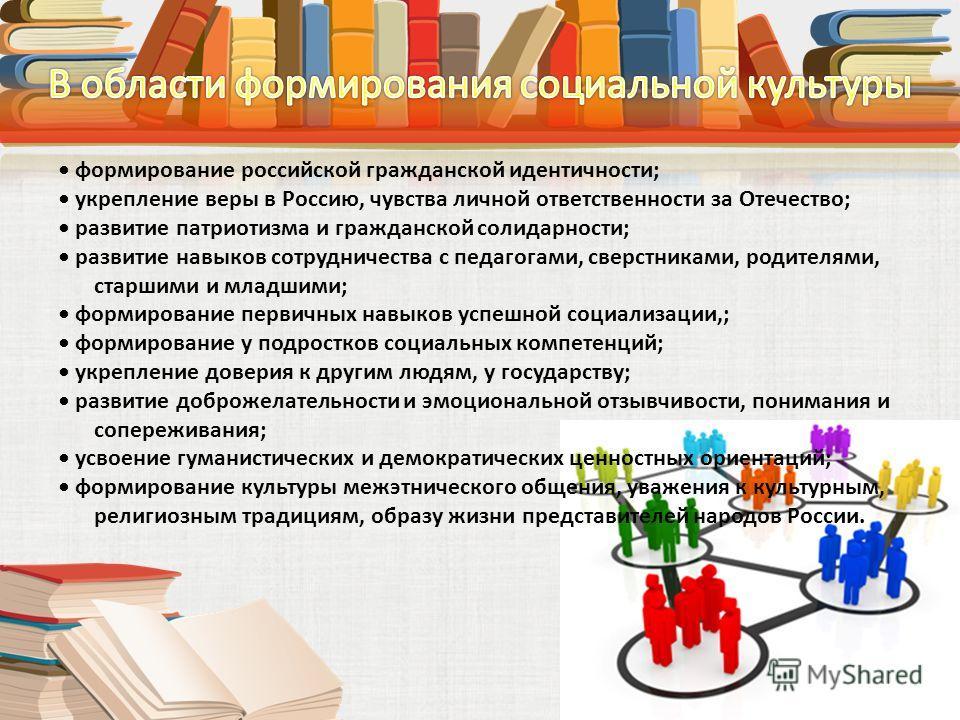 формирование российской гражданской идентичности; укрепление веры в Россию, чувства личной ответственности за Отечество; развитие патриотизма и гражданской солидарности; развитие навыков сотрудничества с педагогами, сверстниками, родителями, старшими