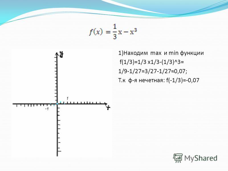 1)Находим max и min функции f(1/3)=1/3 x1/3-(1/3)^3= 1/9-1/27=3/27-1/270,07; Т.к ф-я нечетная: f(-1/3)=-0,07