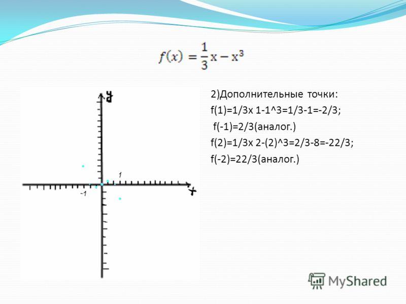 2)Дополнительные точки: f(1)=1/3x 1-1^3=1/3-1=-2/3; f(-1)=2/3(аналог.) f(2)=1/3x 2-(2)^3=2/3-8=-22/3; f(-2)=22/3(аналог.)