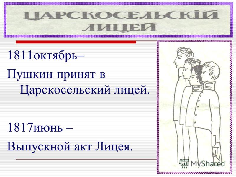 1811октябрь– Пушкин принят в Царскосельский лицей. 1817июнь – Выпускной акт Лицея.