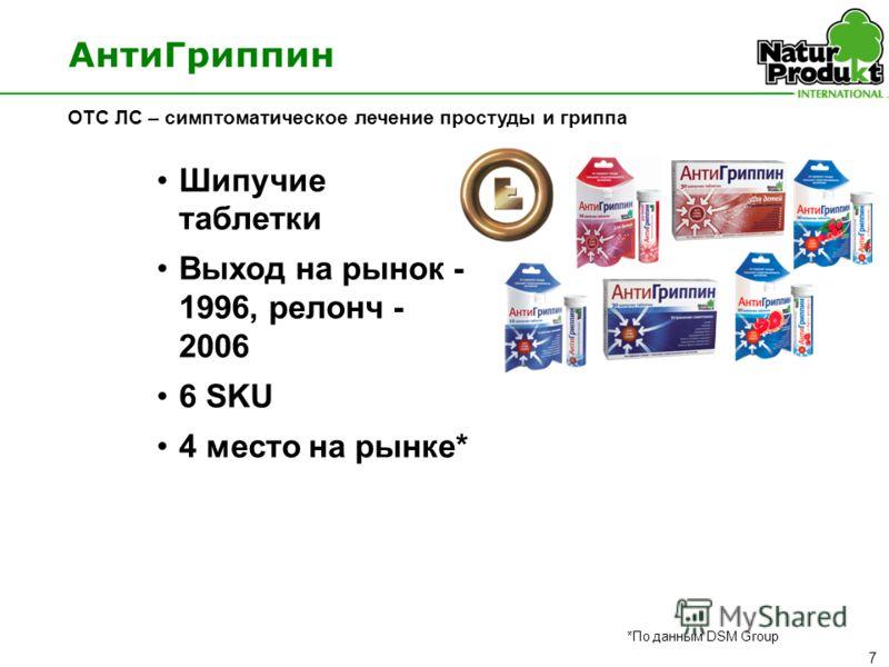 7 Шипучие таблетки Выход на рынок - 1996, релонч - 2006 6 SKU 4 место на рынке* АнтиГриппин OTC ЛС – симптоматическое лечение простуды и гриппа *По данным DSM Group