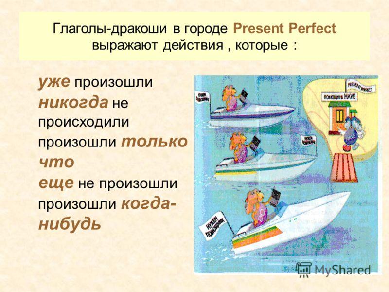 Глаголы-дракоши в городе Present Perfect выражают действия, которые : уже произошли никогда не происходили произошли только что еще не произошли произошли когда- нибудь