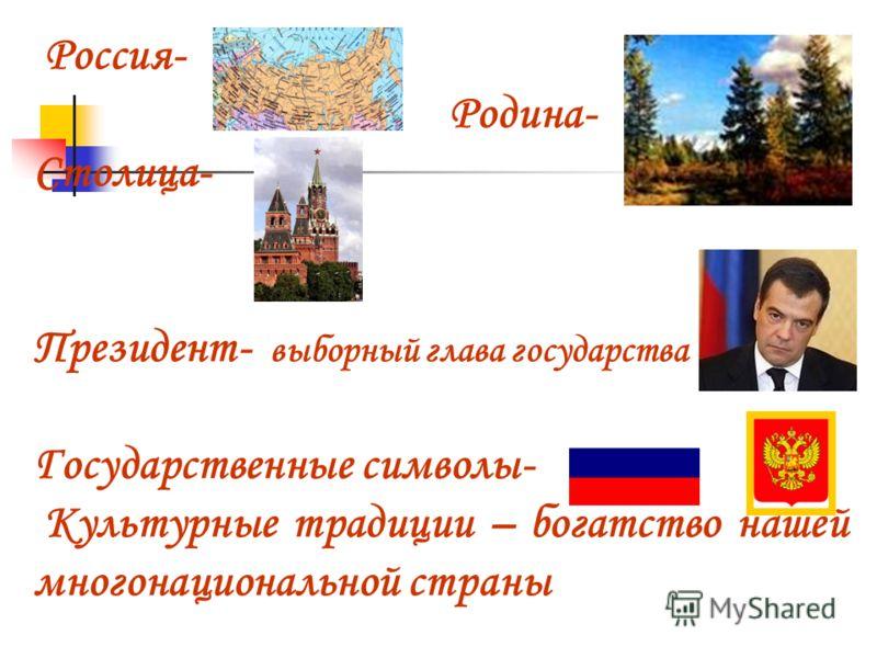 Россия- Родина- Столица- Президент- выборный глава государства Государственные символы- Культурные традиции – богатство нашей многонациональной страны
