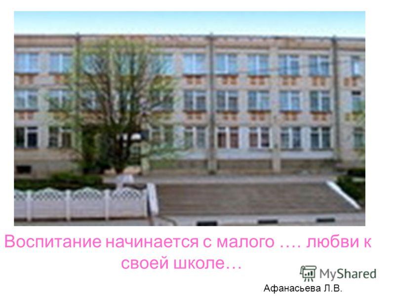 Воспитание начинается с малого …. любви к своей школе… Афанасьева Л.В.