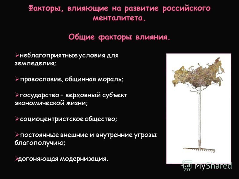 Факторы, влияющие на развитие российского менталитета. Общие факторы влияния. неблагоприятные условия для земледелия; православие, общинная мораль; государство – верховный субъект экономической жизни; социоцентристское общество; постоянные внешние и