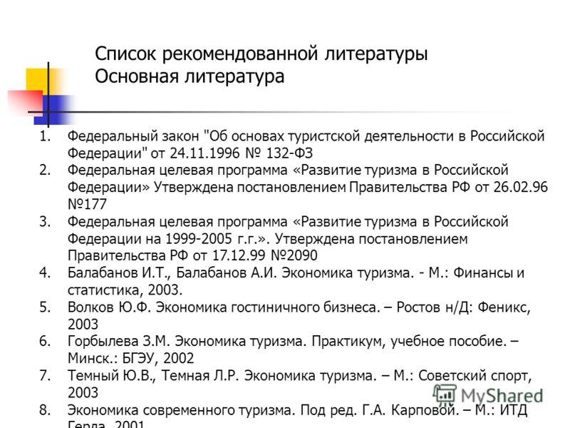 Список рекомендованной литературы Основная литература 1.Федеральный закон