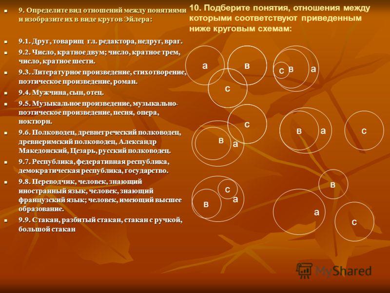 9. Определите вид отношений между понятиями и изобразите их в виде кругов Эйлера: 9. Определите вид отношений между понятиями и изобразите их в виде кругов Эйлера: 9.1. Друг, товарищ гл. редактора, недруг, враг. 9.1. Друг, товарищ гл. редактора, недр