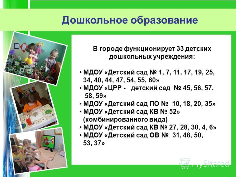 В городе функционирует 33 детских дошкольных учреждения: МДОУ «Детский сад 1, 7, 11, 17, 19, 25, 34, 40, 44, 47, 54, 55, 60» МДОУ «ЦРР - детский сад 45, 56, 57, 58, 59» МДОУ «Детский сад ПО 10, 18, 20, 35» МДОУ «Детский сад КВ 52» (комбинированного в