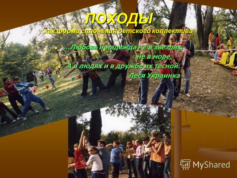 ПОХОДЫ как форма сплочения детского коллектива …Любовь и надежда не в звездах, …Любовь и надежда не в звездах, не в море, не в море, А в людях и в дружбе их тесной. А в людях и в дружбе их тесной. Леся Украинка Леся Украинка