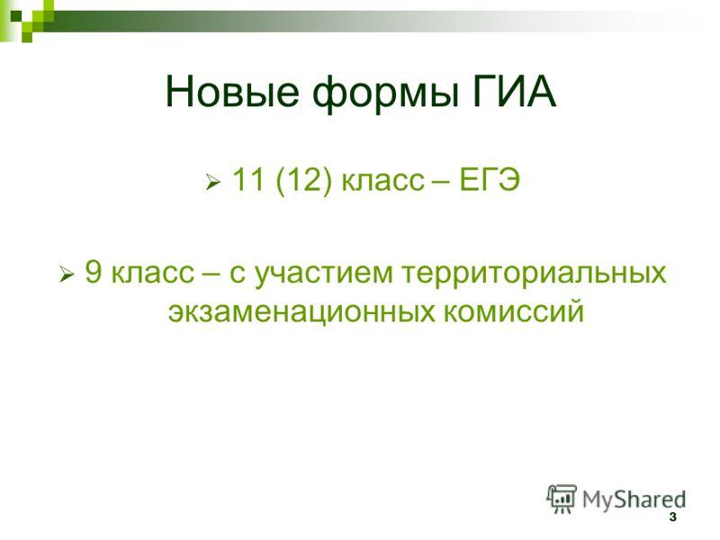 3 Новые формы ГИА 11 (12) класс – ЕГЭ 9 класс – с участием территориальных экзаменационных комиссий