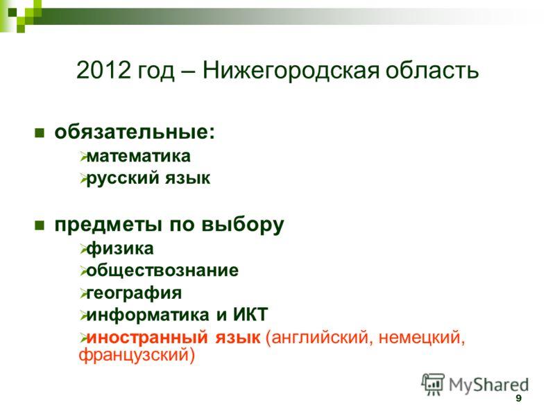 9 2012 год – Нижегородская область обязательные: математика русский язык предметы по выбору физика обществознание география информатика и ИКТ иностранный язык (английский, немецкий, французский)