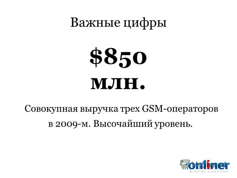 Важные цифры Совокупная выручка трех GSM-операторов в 2009-м. Высочайший уровень. $850 млн.