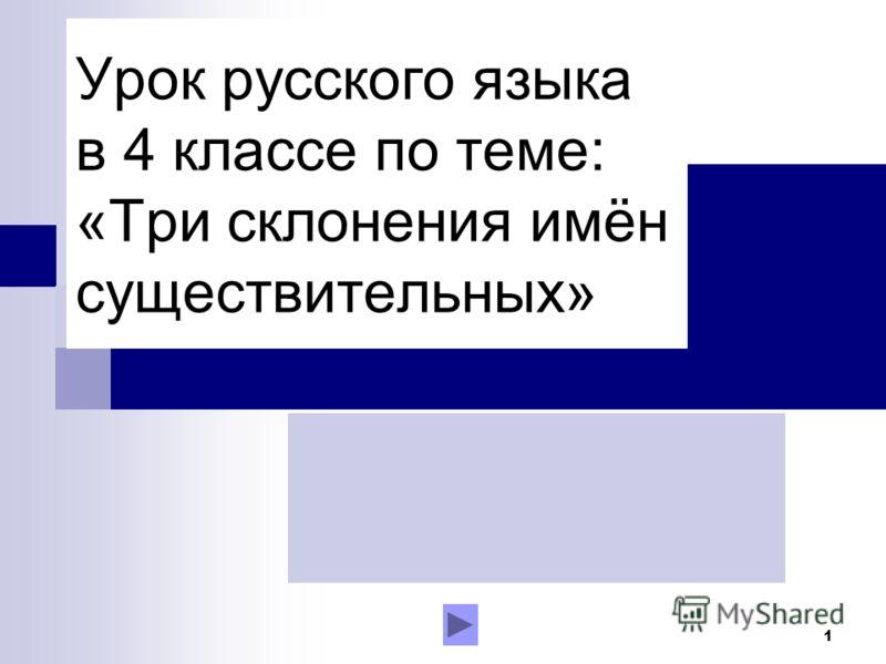 1 Урок русского языка в 4 классе по теме: «Три склонения имён существительных»