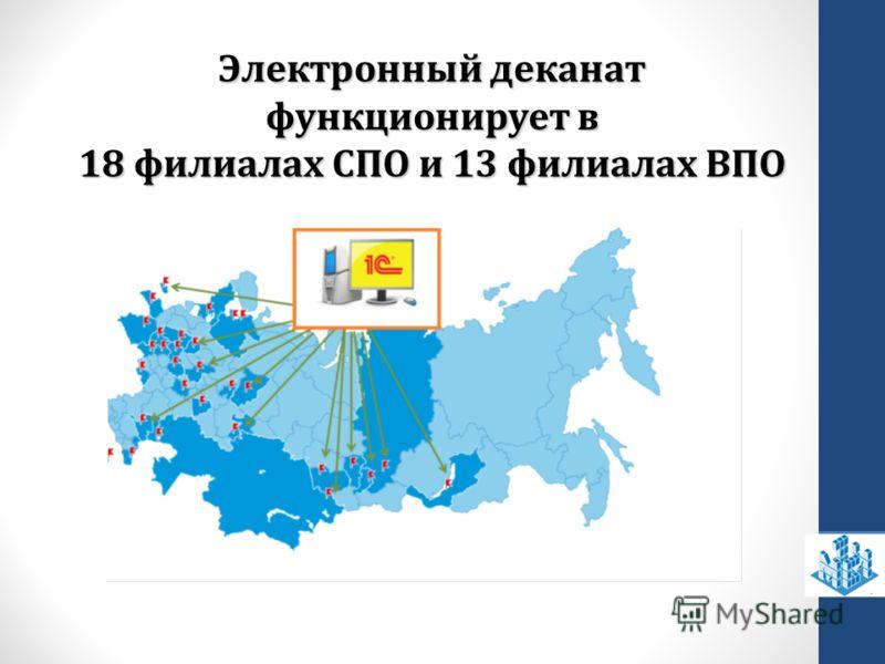 Электронный деканат функционирует в 18 филиалах СПО и 13 филиалах ВПО