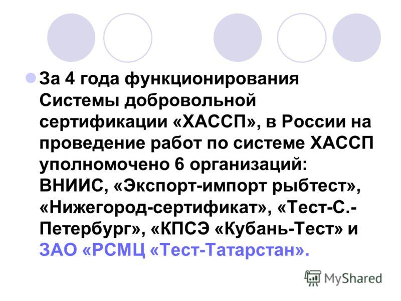 За 4 года функционирования Системы добровольной сертификации «ХАССП», в России на проведение работ по системе ХАССП уполномочено 6 организаций: ВНИИС, «Экспорт-импорт рыбтест», «Нижегород-сертификат», «Тест-С.- Петербург», «КПСЭ «Кубань-Тест» и ЗАО «
