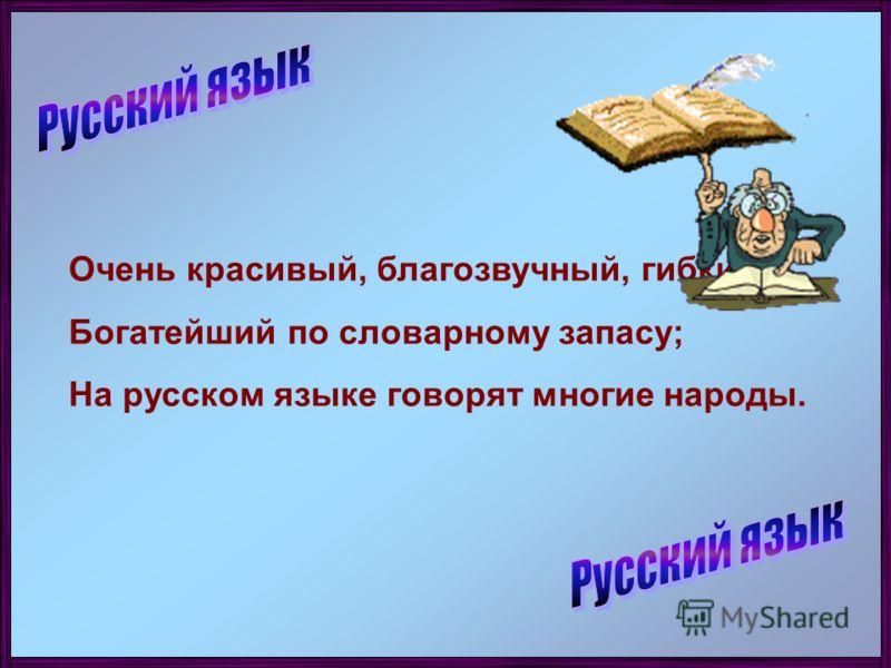 Очень красивый, благозвучный, гибкий; Богатейший по словарному запасу; На русском языке говорят многие народы.