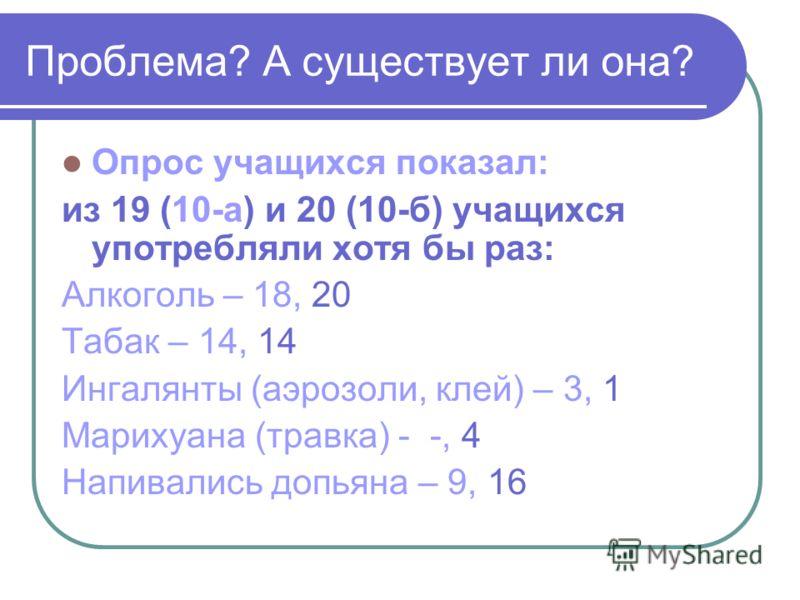 Проблема? А существует ли она? Опрос учащихся показал: из 19 (10-а) и 20 (10-б) учащихся употребляли хотя бы раз: Алкоголь – 18, 20 Табак – 14, 14 Ингалянты (аэрозоли, клей) – 3, 1 Марихуана (травка) - -, 4 Напивались допьяна – 9, 16