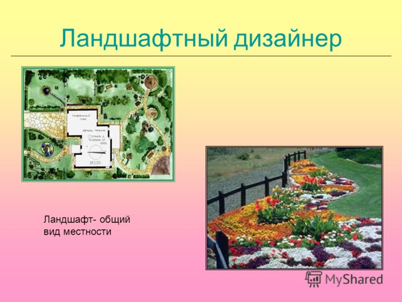 Ландшафтный дизайнер Ландшафт- общий вид местности
