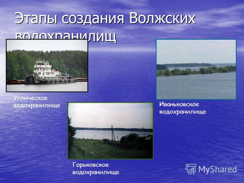 Этапы создания Волжских водохранилищ Углическое водохранилище Иваньковское водохранилище Горьковское водохранилище