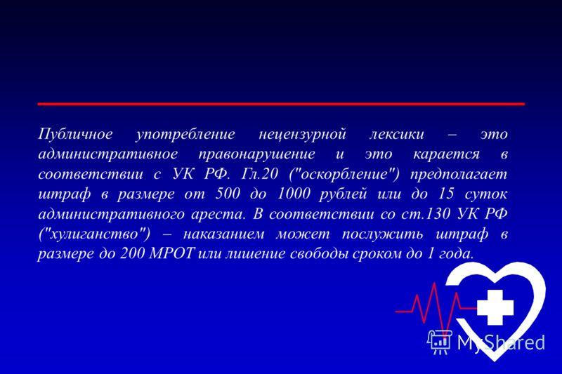 Публичное употребление нецензурной лексики – это административное правонарушение и это карается в соответствии с УК РФ. Гл.20 (