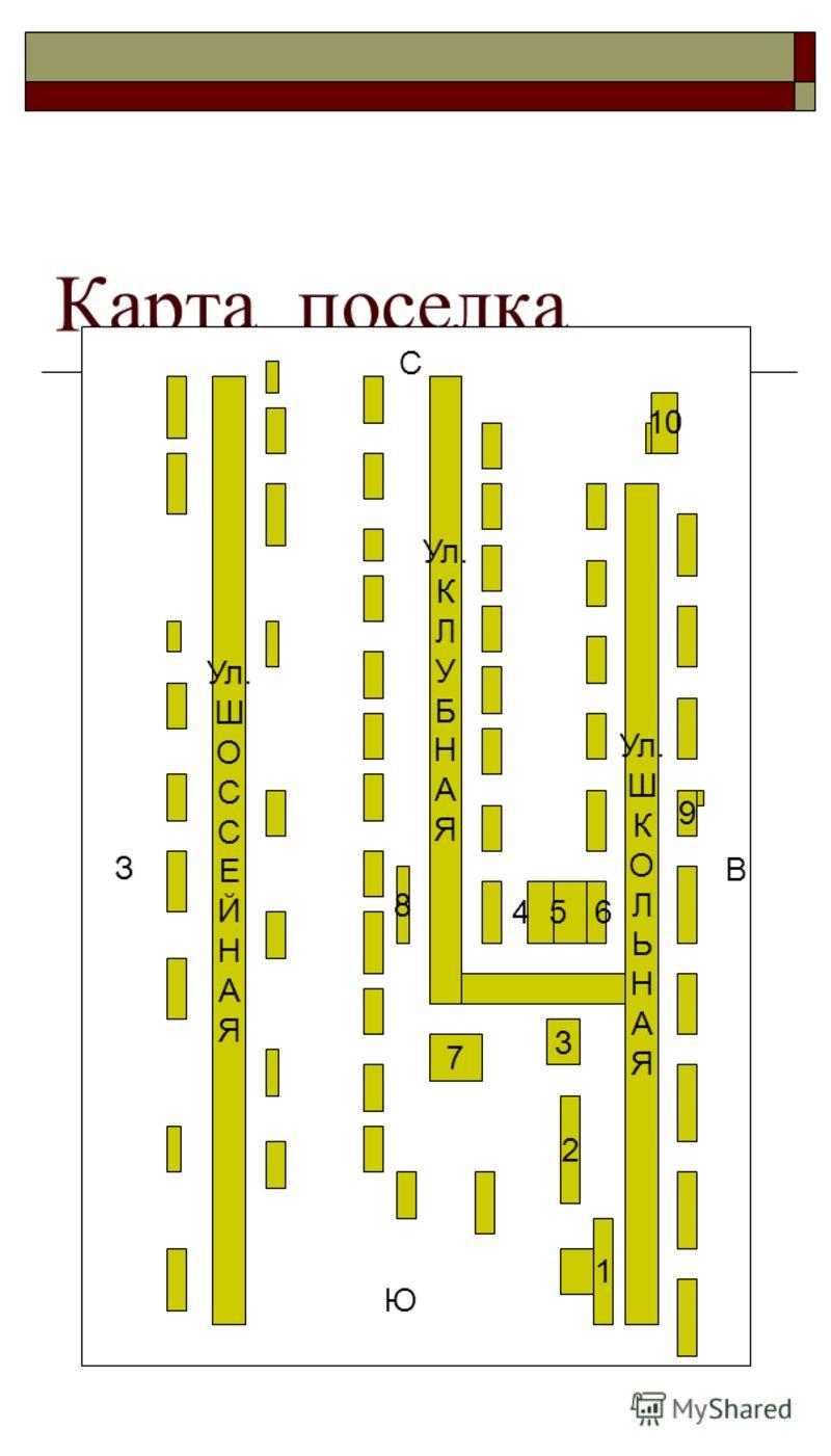 Карта поселка Ул. Ш К О Л Ь Н А Я Ул. К Л У Б Н А Я Ул. Ш О С С Е Й Н А Я 1 9 10 2 3 7 8 4 5 6 Ю С З В