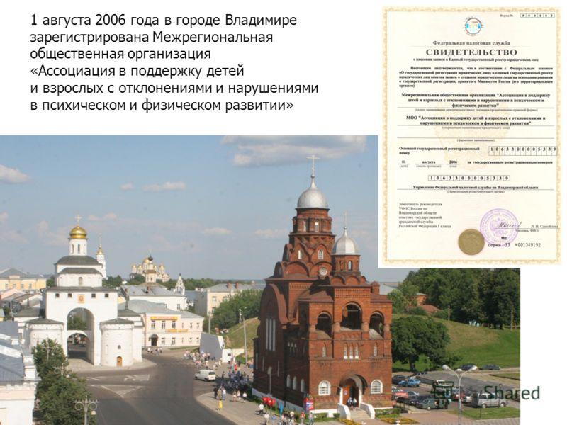 1 августа 2006 года в городе Владимире зарегистрирована Межрегиональная общественная организация «Ассоциация в поддержку детей и взрослых с отклонениями и нарушениями в психическом и физическом развитии»