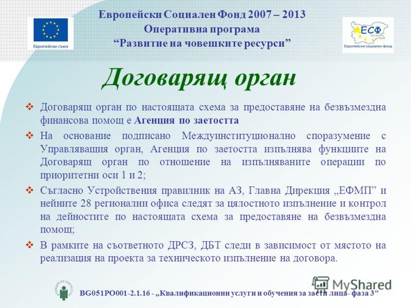 Европейски Социален Фонд 2007 – 2013 Оперативна програма Развитие на човешките ресурси BG051PO001-2.1.16 - Квалификационни услуги и обучения за заети лица- фаза 3