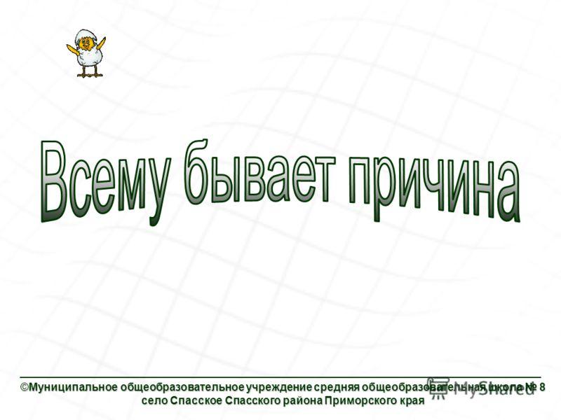 ©Муниципальное общеобразовательное учреждение средняя общеобразовательная школа 8 село Спасское Спасского района Приморского края