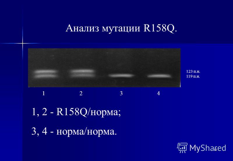12 Анализ мутации R158Q. 123 п.н. 119 п.н. 1 2 3 4 1, 2 - R158Q/норма; 3, 4 - норма/норма.