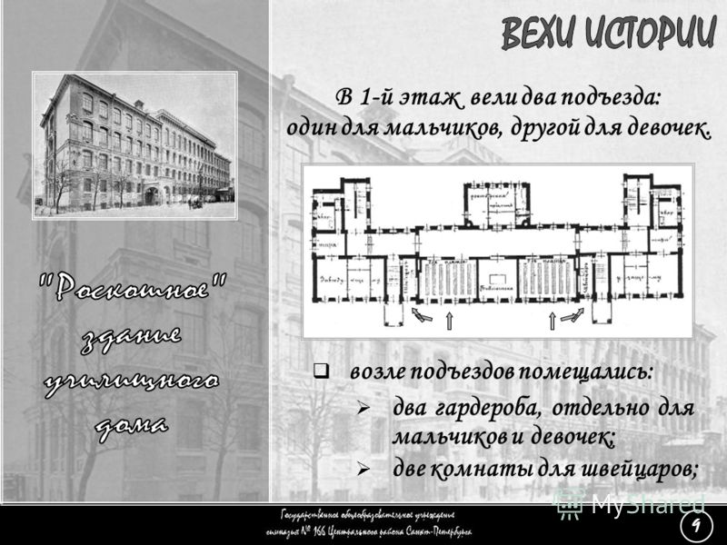В 1-й этаж вели два подъезда: один для мальчиков, другой для девочек. (9) «Роскошное здание» - 4 возле подъездов помещались: два гардероба, отдельно для мальчиков и девочек; две комнаты для швейцаров; 9