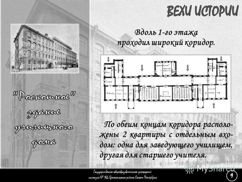 Вдоль 1-го этажа проходил широкий коридор. (9) «Роскошное здание» - 5 По обеим концам коридора располо- жены 2 квартиры с отдельным вхо- дом: одна для заведующего училищем, другая для старшего учителя. 9